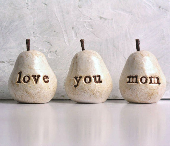 Mothers Day gift for mom ... love you mom ...Three handmade polymer clay pears ... 3 Word Pears, white