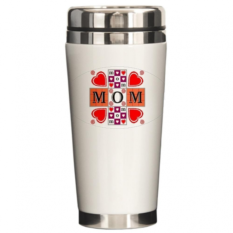 Ceramic Travel Drink Mug Mother's Day I Love Mom