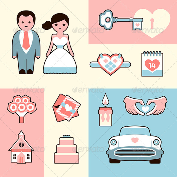 Wedding Icons Flat Illustrations Set