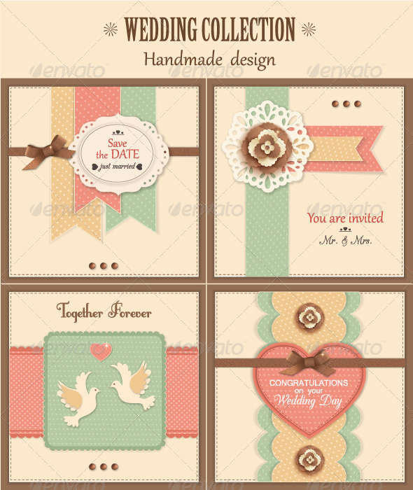 Set of Four Vintage Wedding Backgrounds