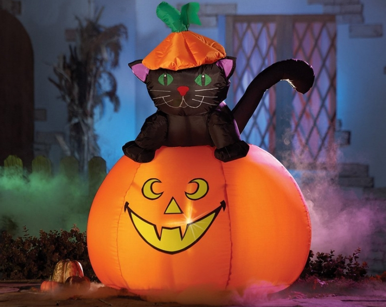 30 things from amazon that will make you wish it was halloween casper cat halloween lighted outdoor inflatable aloadofball Gallery