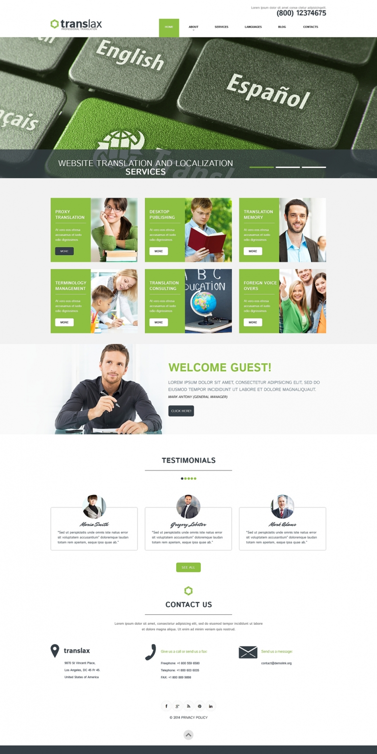 Translation Services WordPress Theme