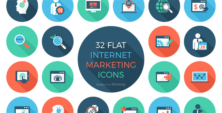 Free Icon Set - 32 Flat Internet Marketing Icons