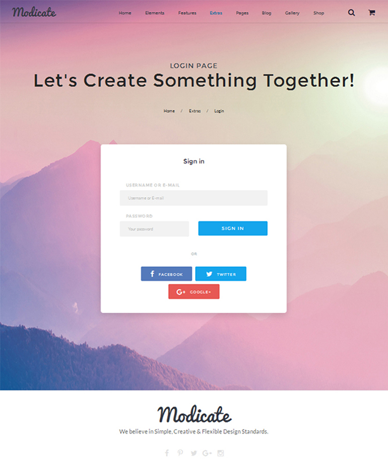 modicate-login-page