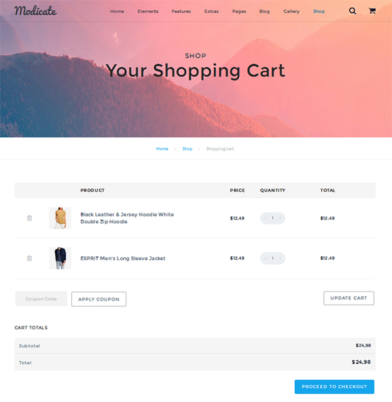 modicate-shopping-cart-page